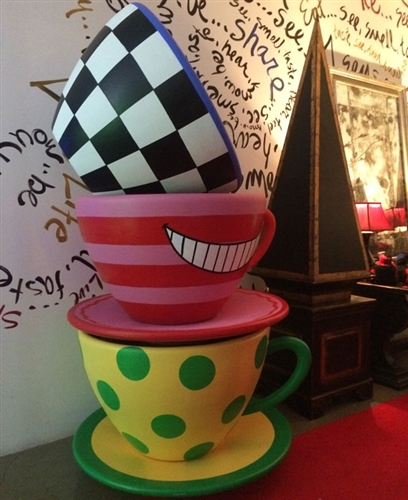 Oversized Teacup Black White Checkered