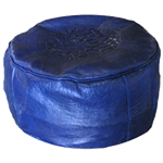Moroccan Leather Pouf - Blue