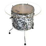 Drum End Table Silver