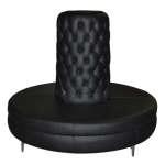 Black Leather Round Banquette