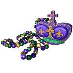 Oversized Mardi Gras Beads with Crown