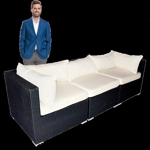 Black Rattan Sofa