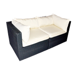 Black Rattan Loveseat