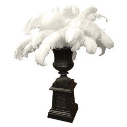 Tall Black Urn with Feathers