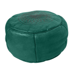 Moroccan Leather Pouf - Green