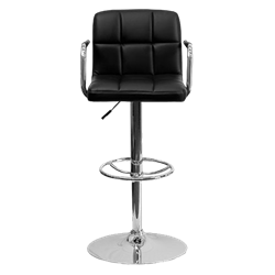Black Leather Bar Stool with Arms