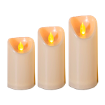 Set of (3) Ivory LED Pillar Candles