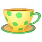 Oversized Teacup - Yellow & Green Polkadot