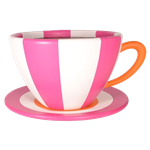 Oversized Teacup - Pink & White Stripe