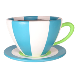 Oversized Teacup - Teal & White Stripe