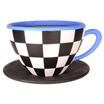 Oversized Teacup - Black & White Checker