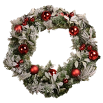 "28"" Flocked Wreath with Ornaments"
