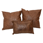 Cluster of (3) Tooled Leather Pillows