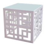 White Patterned Cube Table