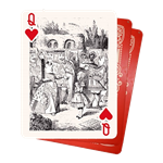 Set of (3) Flying Cards - Queen of Hearts