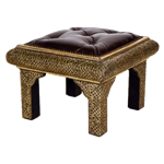 Moroccan Stool with Leather Top