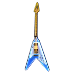 Oversized Blue Neon Guitar