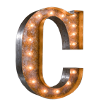 Vintage Marquee Letter - C