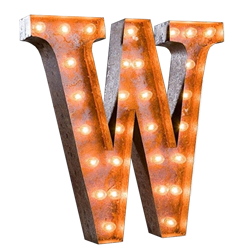 Vintage Marquee Letter - W