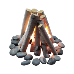 Faux Fire with Birch Logs