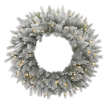 Frosted Sable Pine Wreath with Lights