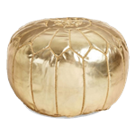 Moroccan Leather Pouf - Gold
