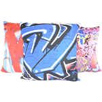 Set of (3) Graffiti Pillows