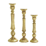 Gold Pillar Candle Stands - Set of (3)