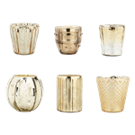 Gold Eclectic Votive Holders - Set of (6)
