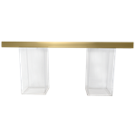 Gold Mirrored Column Table - Clear