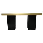 Gold Mirrored Column Table - Black