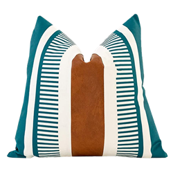 Teal Leather Stripe Pillow