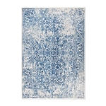 Blue and Ivory Distressed Area Rug 8' x 10'
