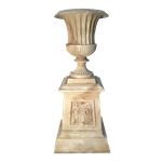 Faux Marble Fluted Urn with Base