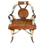 Cowhide and Horn Chair