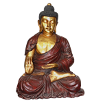 Sitting Buddha Statue - Red & Gold
