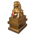 Gold Foo Dog Statue