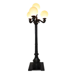 8' Black Quad Lamp Post